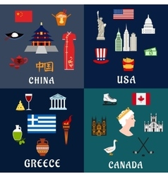 USA China Greece and Canada travel flat icons vector image