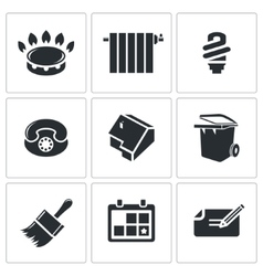 Utilities domestic problems icons set vector