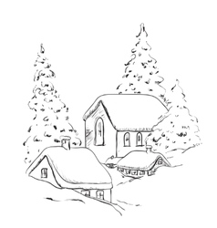 Winter background house and tree in the snow vector