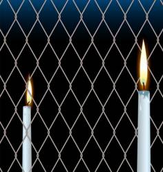 Wire fence candle vector