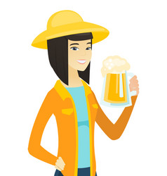 Young asian farmer drinking beer vector