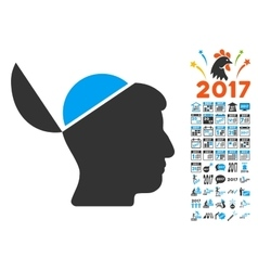 Open brain icon with 2017 year bonus symbols vector
