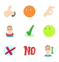 Consent and refusal icons set cartoon style vector