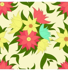 Retro seamless pattern with colorful flowers vector