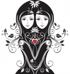 floral girls vector image
