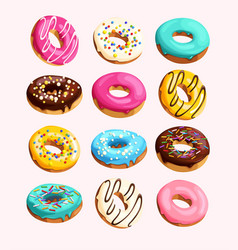 set of donuts vector image