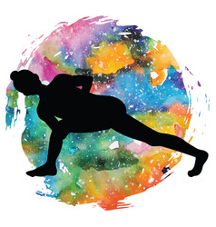 Women silhouette revolved side angle yoga pose vector