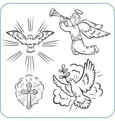 Angels and doves - vector