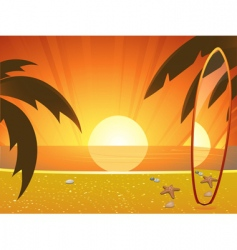 Summer sunset and surfboard vector