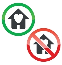Beloved house permission signs set vector