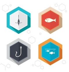 Fishing icons fish with fishermen hook symbol vector