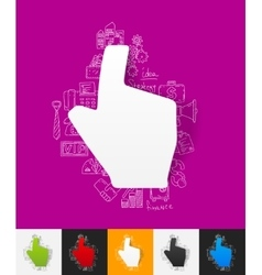 Cursor paper sticker with hand drawn elements vector
