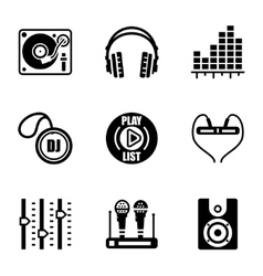 Dj icon set vector