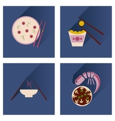 Flat icon collection with shadow japanese dishes vector