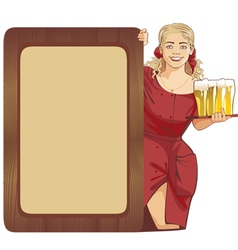 blond waitress beer vector image