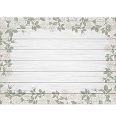 Vintage border of white roses on wooden background vector