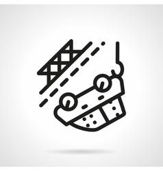 Car towing black simple line icon vector image