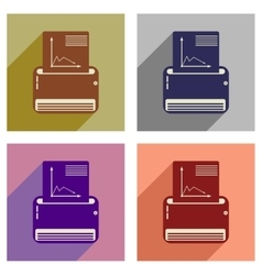 Concept of flat icons with long shadow fax machine vector