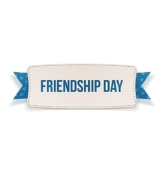 Friendship day label with ribbon and shadow vector