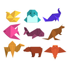 Animals origami set animals and birds made of vector