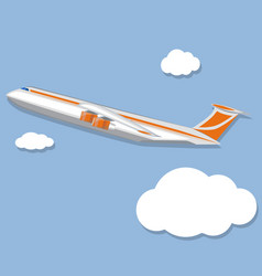 Aviation poster with jet airplane in sky vector