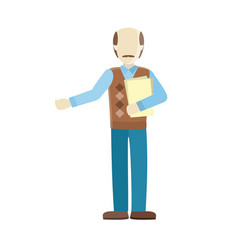 Bald man private personage vector
