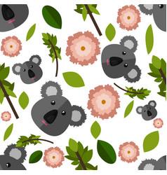 beautiful cartoon seamless pattern with koala vector image