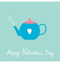 Blue and pink teapot with hearts valentines day vector