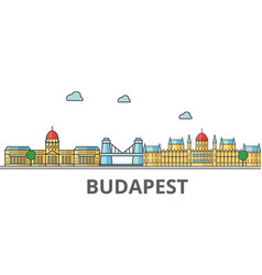 budapest city skyline buildings streets vector image vector image