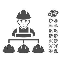 Builder management icon with tools bonus vector