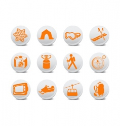 camping buttons vector image vector image