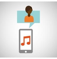 character afroamerican smartphone music vector image
