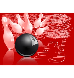Christmas bowling strike vector