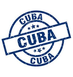 Cuba blue round grunge stamp vector