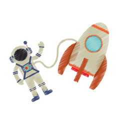 Drawing astronaut rocket exploration image vector