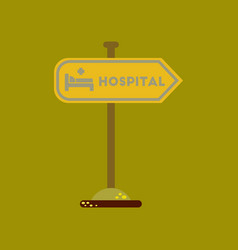Flat icon on background hospital sign vector