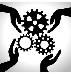 Hand holding gear team design isolated vector