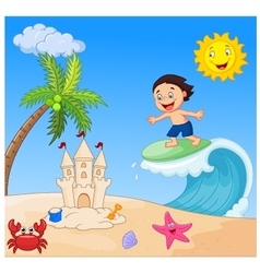 Happy boy cartoon surfing vector