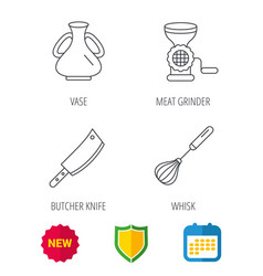 Meat grinder butcher knife and whisk icons vector