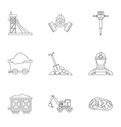 Mine icons set outline style vector