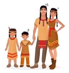 Native american indian traditional family vector