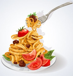 Pasta with tomato and meat sauce vector