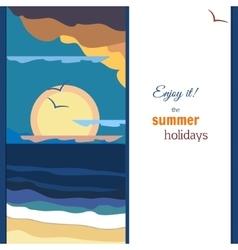 Peaceful sea sunset panorama warm palette vector