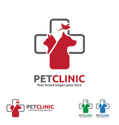 pet clinic logo with dog cat and bird with cross vector image vector image