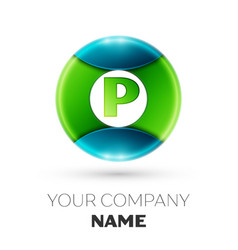 Realistic letter p logo symbol in colorful circle vector