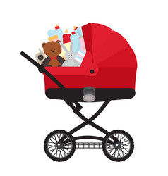 Red child carriage with baby accessories vector