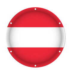 round metallic flag of austria with screw holes vector image vector image