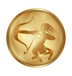 Sagittarius gold medallion drive vector