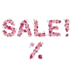 Sale - inscription from cherry flowers vector image