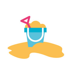 Sand boucket beach toy vector